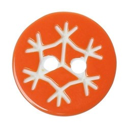 10 knappar snöflinga orange - 13 mm