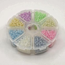 Seedbeads - ask med ca 1700 glaspärlor 4 mm
