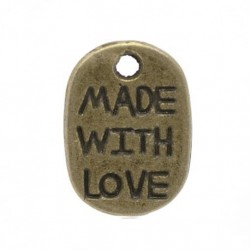 Charm - made with love - 11 mm - 2 stycken